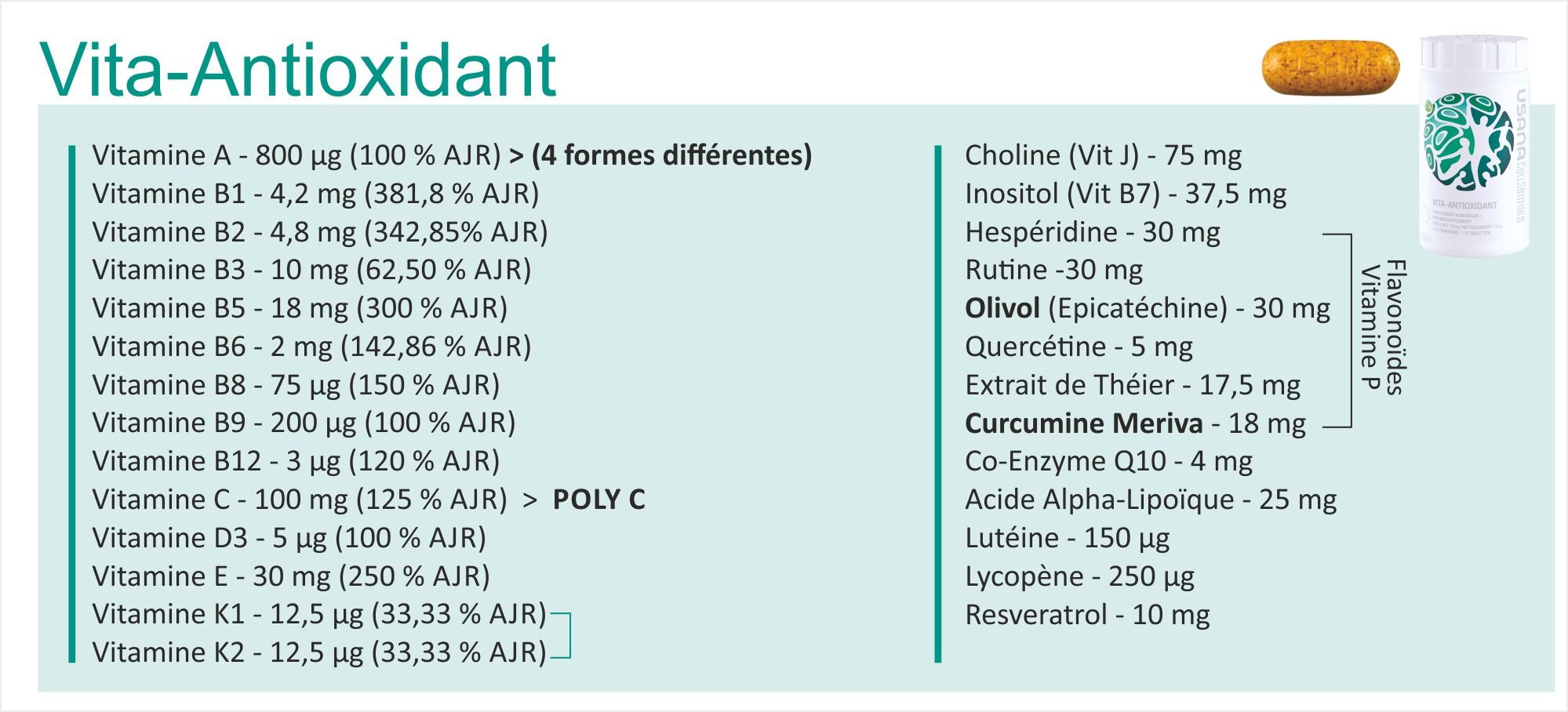 Vita-antioxydant - ingrédients - USANA
